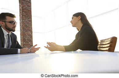 professionnels, avoir, réunion, autour de, table, dans, moderne, bureau