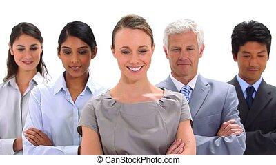 professionnels, bras, leur, traversé, sourire
