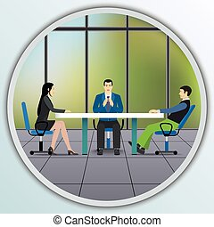 professionnels, bureau., séance, négocier, table