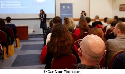 professionnels, chaises, écran, séance, regarder, conference., présentation, salle