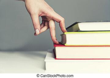 professionnels, concept, step., but, -, haut, étape, croissance, en mouvement, doigt, portée, occupation
