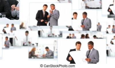 professionnels, conversation, montage