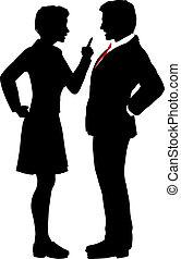 professionnels, désaccord, baston, disputer, parler