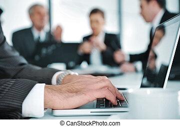 professionnels, discussion, à, salle réunion