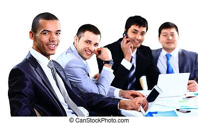 professionnels, discuter, dans, a, réunion