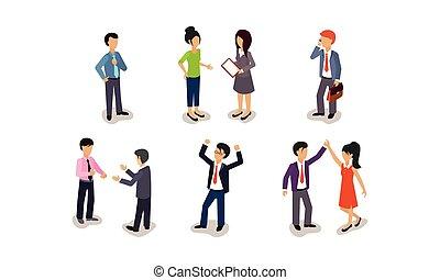 professionnels, ensemble, communication, illustration, métier, vecteur, fond, entre, entrevue, blanc, collègues