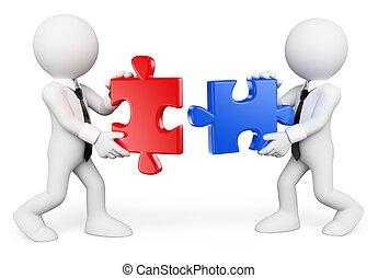 professionnels, gens., collaboration, blanc, 3d