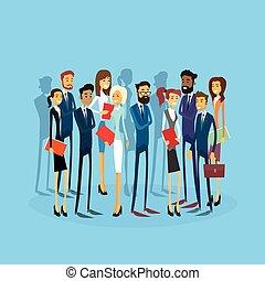 professionnels, groupe, businesspeople, plat, équipe