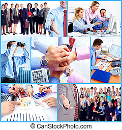 professionnels, groupe, collage.