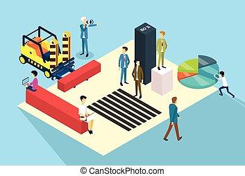 professionnels, groupe, fonctionnement, 3d, isométrique