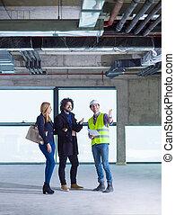 professionnels, groupe, site, construction, architecte, ingénieur