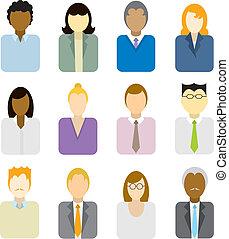 professionnels, icônes, (multi, ethnic)