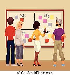 professionnels, idées, jeune, créatif, brain-storming, planche