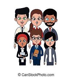 professionnels, image, jeune, équipe, icône