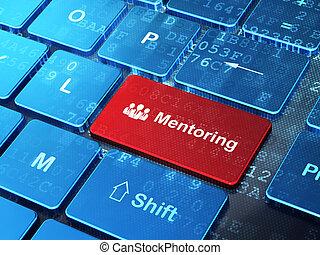 professionnels, informatique, mentoring, fond, clavier, education, concept: