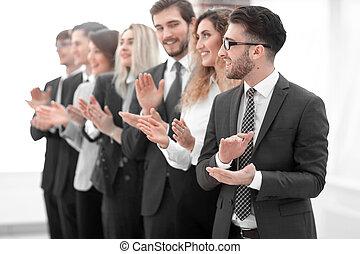 professionnels, isolé, applaudir, groupe