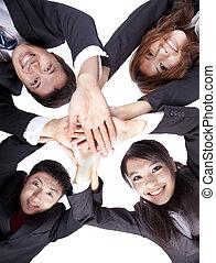 professionnels, jeune, leur, asiatique, mains, joindre