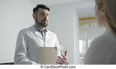professionnels, monde médical, entre, dialogue, deux
