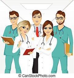 professionnels, monde médical, groupe, équipe
