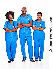 professionnels, monde médical, groupe, africaine