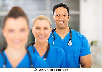 professionnels, monde médical, groupe, hôpital