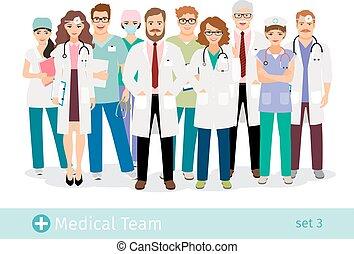 professionnels, personnel médical, groupe, uniforme