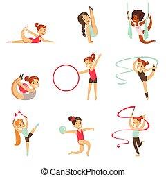 professionnels, peu, ensemble, filles, sports, avenir, gymnastique, exercices, acrobaties, classe
