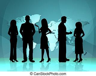 professionnels, professionnels, femme affaires, moyens, en ville