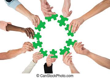 professionnels, puzzle, créatif, vert, tenue, morceaux