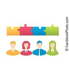 professionnels, puzzle, puzzle, solution, morceaux, équipe