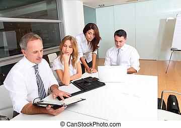 professionnels, réunion, autour de, table