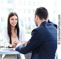 professionnels, réunion, dans, a, moderne, bureau