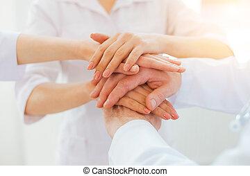 professionnels, regard, monde médical, haut, ensemble, mains...