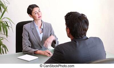 professionnels, séance, conversation, quoique, bureau