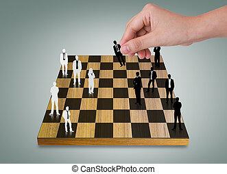 professionnels, silhouettes, main, jeu, échecs, jouer