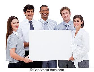 professionnels, tenue, international, sourire, blanc, carte