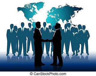 professionnels, travail, businesspeople, ensemble, indique