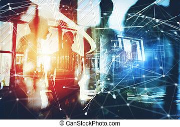 professionnels, travail, ensemble, dans, bureau., concept, de, collaboration, et, partnership., double exposition, à, moderne, ville, et, lumière, effets
