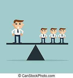professionnels, trois, peser, autre, homme affaires, scale.,...