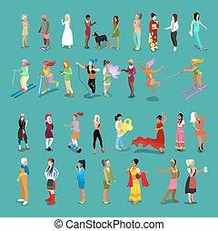 professions., anders, karakters, mensen, set., isometric, plat, vrouwen, vector, illustratie, vrouwlijk, maniertjes, 3d