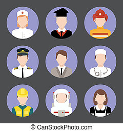 Professions avatar flat icons set - Avatar business users...