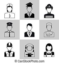 Professions avatar icons black set - Avatar social network...