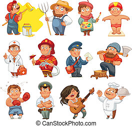 Professions. Builder, painter, rocker, woodcutter, swimmer,...