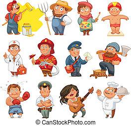 Professions. Builder, painter, rocker, woodcutter, swimmer, ...