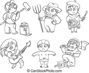 Professions. Builder, painter, rocker, woodcutter, swimmer, farmer. Coloring book. Vector illustration. Isolated on white background
