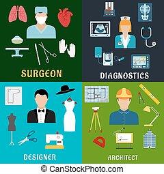 professions, construction, conception, médecine, icônes