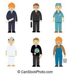 professions, différent, caractères, dessin animé