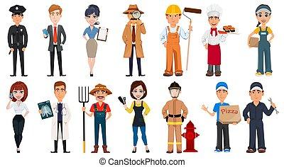 professions., différent, gens