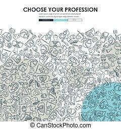 professions Doodle Website Template Design