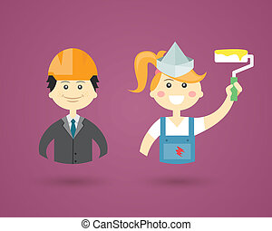 Colored cartoon vector character icons depicting Professions with a male architect or structural engineer in a hardhat and female Interior Decorator with a paint roller conceptual of construction